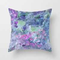 Lilac Bloom Throw Pillow by Klara Acel