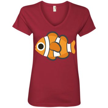 Nemo Fish Emoji Ladies' V-Neck T-Shirt