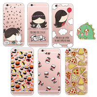 Unicorn Girl Delicious Food Pizza Sushi Chocolate Bottle Clear Soft Gel Case For iPhone 5S 6 6S 6Plus Transparent Cover Coque