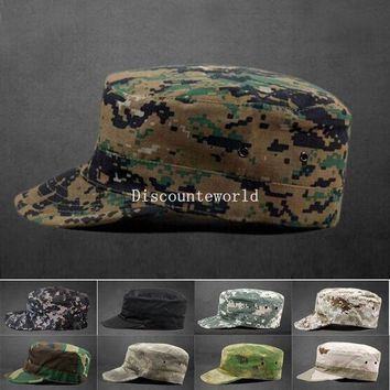 PEAPGB2 Hot Sale 2016 Summer Winter Mens Camo Camouflage Patrol Castro Snapback Hats Military Army Baseball Cadet Visor Sun Cap Cheap Z1