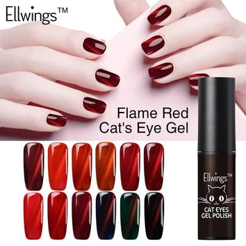 Ellwings 1pcs 2017 Newest Fire Red Cat Eye Nail Gel Polish Soak Off Uv Gel Varnish 3D Shining Colors Magnet DIY Gel lacquer