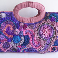 Freeform Crochet Handbag, Handspun Lined Purse, Unique Artisan Purse, OOAK Freeform Bag, Pink Purple Beaded Bag, Upcycled Recycled Bag