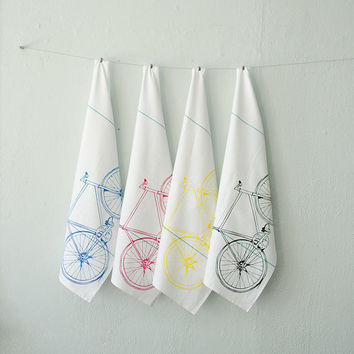 CMYK bicycle tea towel set - four hand printed cotton bike towels