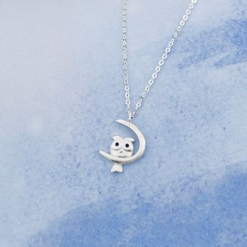 925 sterling silver personality Owl Pendant necklace,a perfect gift !