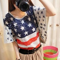 US Flag T-shirt for Women RWS328 from topsales