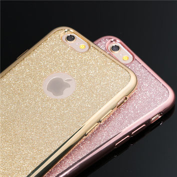 Electroplating Crystal Candy Colors Phone Cases for iPhone 5 5S SE 6 6s 6plus 6s Plus 7 7Plus Soft TPU Clear Glitter Back Cover