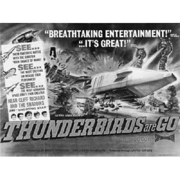 """Thunderbirds Are Go Poster Black and White Poster 16""""x24"""""""