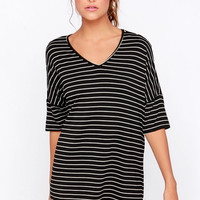 LULUS Exclusive Repeat After Me Black Striped Dress