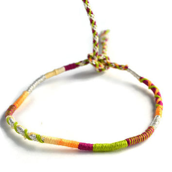 Sparkly Silver and Purple Friendship Bracelet and Anklet, Orange,  Purple and Green Wanderlust Friendship Anklets