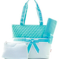 Monogrammed Diaper Bag  Personalized Diaper Bag  Aqua Seersucker Diaper Bag  Custom Diaper Bag