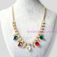 Mother's Day Gift,Multicolour crystal, Rhinestone necklace, Punk rivets,Gold metal, Vintage necklace,Wedding necklace, antique necklace  N-2