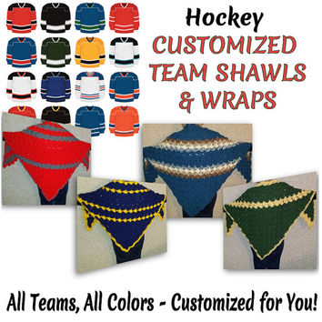 Customized Hockey Team Sports Shawl Wrap Cape Poncho Gift for Her Gift for Him Christmas Gift Birthday Gift Hockey Team Sports Team Gifts