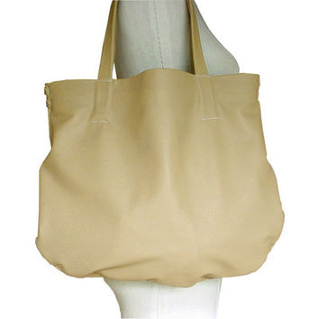 Big Leather Tote Bag, Soft Leather Hobo Bag, Every Day  Carry All, Beige, Sand