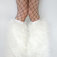 MADE TO ORDER uv  WhITE Fluffies Fuzzy Leg Warmers fluffy boot covers rave gogo costume festival leggings