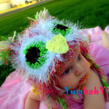 Pink Baby Owl Hat with Earflaps- Fuzzy Owl- Pink Multicolor, Green, White, Yellow- Girl Easter Hat- Photography Prop- Warm Winter Beanie