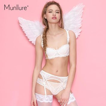 Sexy lace thin  thin cup with wire bra underwear bride lace bra three pieces bra set