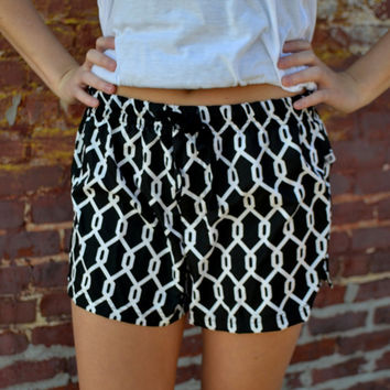 SALE Personalized Chainlink Shorts Black and White Summer