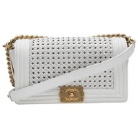 Collector CHANEL 'Boy' Flap Bag 'Paris Dubaï' in White and Aged Gold Leather
