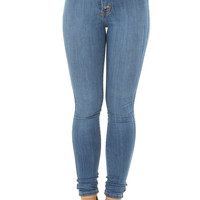 Medium Wash High Waisted Button Up Skinny Jeans