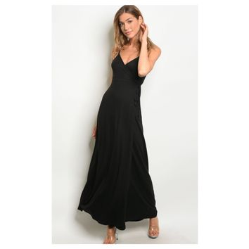Sassy Me, V Neck Cami Strap Elegant Black Dress
