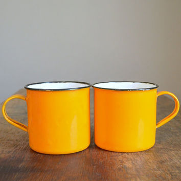 Vintage Orange Enamelware Camping Mugs  Set of Two by TheFancyLamb