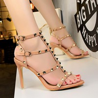 Sexy Women's Studded Buckle High Heels