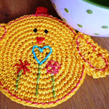 Crochet Double-Faced Chick Coaster Easter, Spring