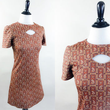 Tawny dress // 60s brown & gold india paisley print cut out neck mod mini dress // tiny fit go go girl // size S
