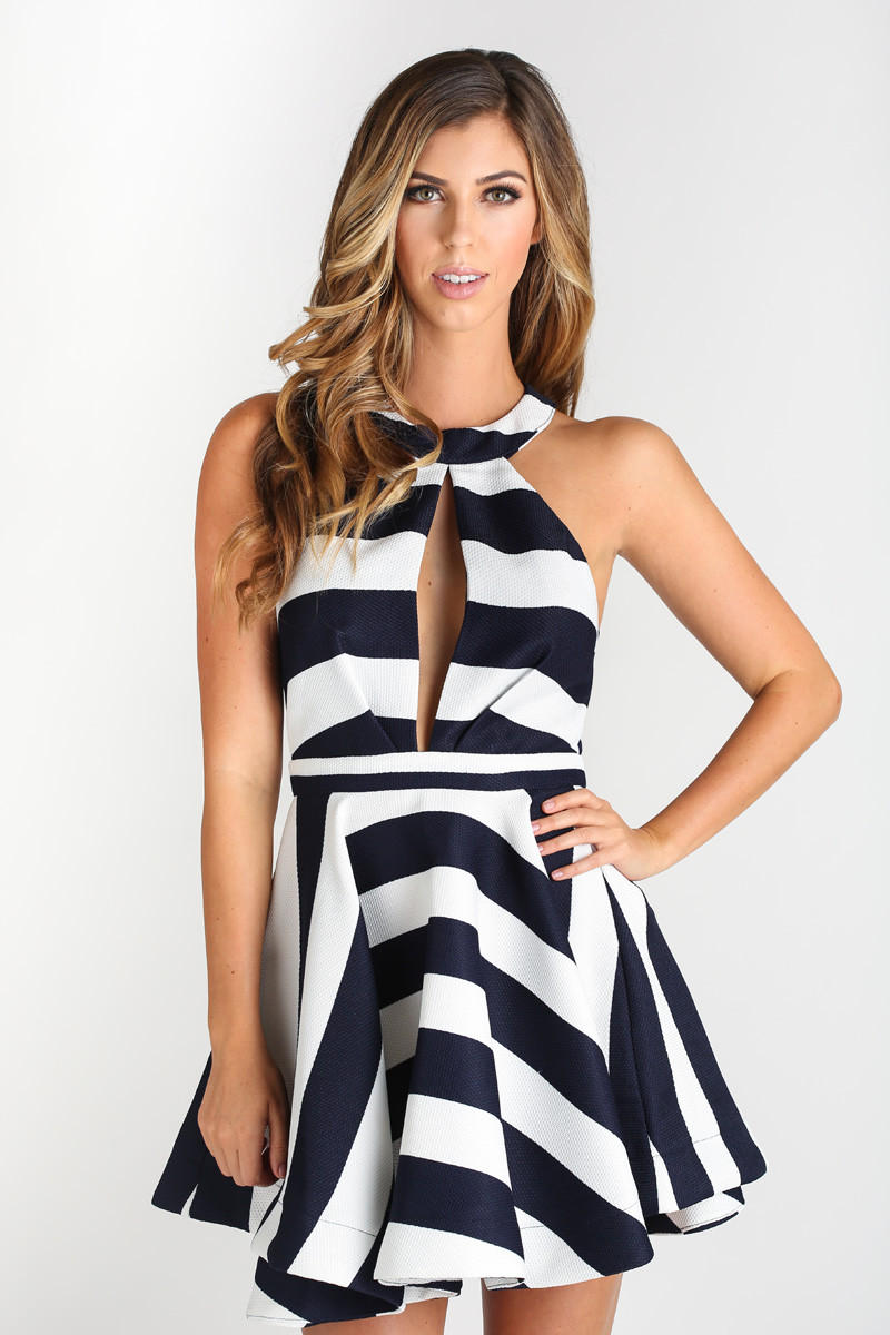 233fc37095f1 Nadine Navy Striped Halter Fit and Flare from Morning Lavender
