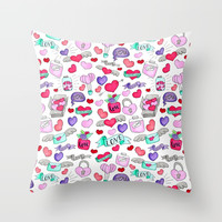 Lovely doodle drawing Valentine's Day gift Throw Pillow by maria_so