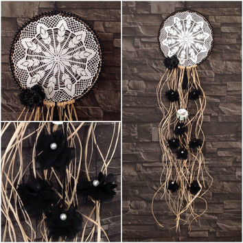 Dreamcatcher, White and Black, Crochet Doily Dreamcatcher, Home Decor, Wall Hanging,  Sweet Dreams, Boho dreamcatchers