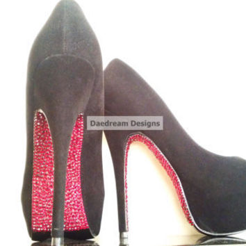 Red Bottom Bling Heels by DaedreamDesigns on Etsy