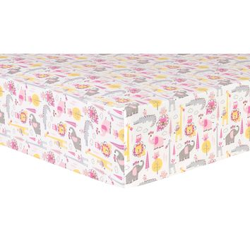 Baby Cribs - Pink Animal Safari Deluxe Flannel Fitted Crib Sheet