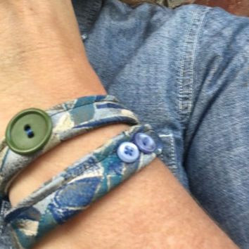 Upcycled Wrap Bracelet Vintage Necktie Jewelry Fabric Olive Green Tan Light Blue Trendy Gifts Reclaimed Neckties Repurposed Upcycled Gifts
