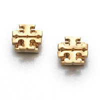 Goldtone Logo Stud Earrings/0.35""