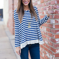 Lines To Lace Top, Navy-Ivory