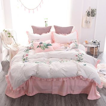 Elegant embroidery Bedding Set 4pcs egyptian Cotton Duvet Cover Bed Sheet Pillowcases Bedroom Textile Bed Linen Queen girls Bed