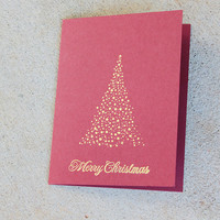 Gold and Burgundy Christmas Cards, Christmas Tree Cards, Merry Christmas Cards, Christmas Greeting Cards, Gold Christmas Cards Set of 5