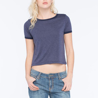 H.I.P. Marled Womens Ringer Tee Navy  In Sizes