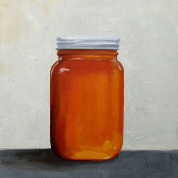 Honey Jar, Original Oil Painting, Kitchen Art, Food Painting 9x7