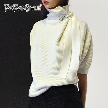 TWOTWINSTYLE Pullovers Female Oversize Turtleneck Lace Up Half Puff Sleeve Knitted Sweater For Women Autumn Winter Fashion
