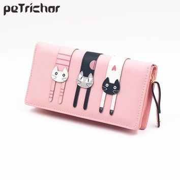 New Fashion Envelope Women Wallet Cat Cartoon Wallet Long Creative Female Card Holder PU Wallet Coin Purses Girls