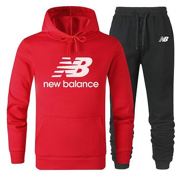 NB New Balance 2019 new simple solid color sports suit two-piece Red