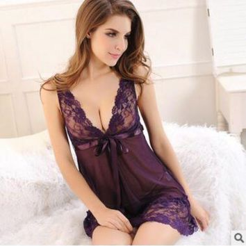 ONETOW M-2xl  women nightgown sleepwear summer nightwear 2017 woman night sleepwear babydoll lingerie sexy Sleep Dress night shirts