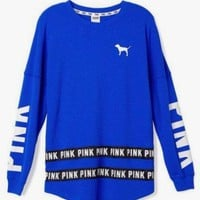 Victoria's Secret Fashion PINK Printing Of Cashmere Blue Long Sleeve Round Collar Sweater I
