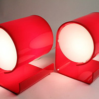 2 (Two) 1970 PLASTIC TABLE LAMP vintage mid century retro era (price is for pair)