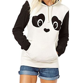 High QualityAutumn Hippie Style Kawaii Hoodies Cute Panda Cartoon Printed With Ears Women Hoody Casual Cute Hoodie