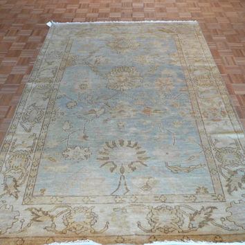 6 x 9 Hand Knotted Sky Blue Oushak Oriental Rug Vegetable Dyes