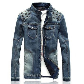 NEW! Slim-Fit Denim Jacket with Studs