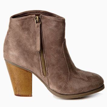 Taupe-Suede-Zip-Side-Ankle-Boot